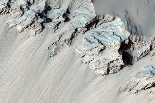 Columnar Jointing in Wall of Impact Crater