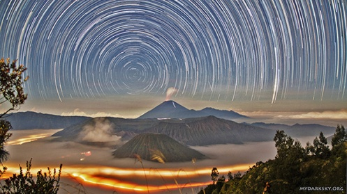 Startrails above Mount Bromo